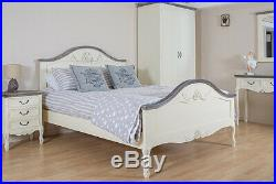 Shabby Chic Bed French Antique White Cream Double 4.6ft Bed Linen Hand Carved
