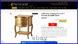 Shabby Chic French Antique Style console Table Gold leaf hallway bedroom 2 draw