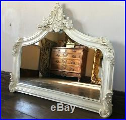 Shabby Chic Ivory Cream French Vintage Over mantle Scroll Top Arched Wall Mirror