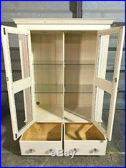 Shabby chic rustic french country dresser display cabinet pine glas chicken wire