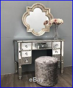 Silver Mirrored Dressing Table Venetian Glass Furniture Large Antique French NEW