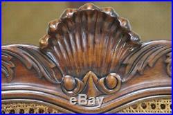 Slight Damaged French Style Ornate Bed Frame King Size Rattan & Mahogany