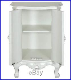 Small French Cabinet Antique White Cupboard 2 Door Storage Shabby Chic Furniture