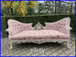 Sofa/Settee/Couch in French Louis Louis XVI Style. Pink Damask With Pastel frame