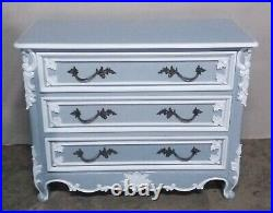 Solid Mahogany French Rococo Chateau Style Antique Grey White Chest Of Drawers