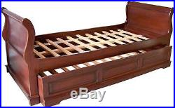 Solid Mahogany French Sleigh Day Bed / Trundle Bed 3' single NEW B011