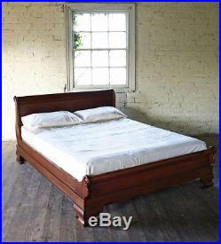 Solid Mahogany Sleigh Bed 4' 6 Double Size French New Low Foot Board New