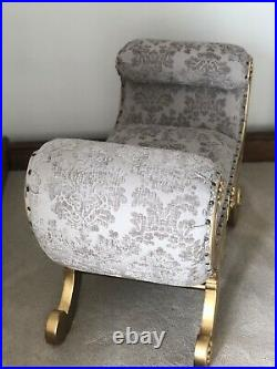 Statement Gold leaf French Window Seat Stool Bench Ottoman Upholstered Chair