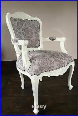 Statement Large Shabby chic Antique White Cream Ivory French Louis Arm Chair