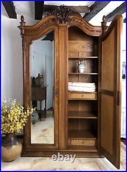 Stunning Antique French Armoire Wardrobe Linen Cupboard