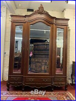 Stunning Antique French Carved Oak Three Mirrored Door Armoire Circa 1890