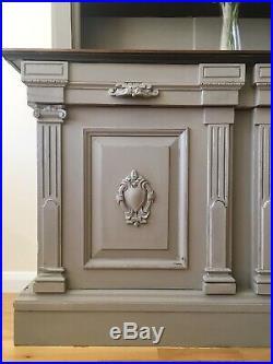 Stunning Antique Large Oak French Linen Grey Welsh Dresser Cabinet Cupboard