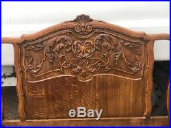 Stunning French Carved Oak Corbielle Bed