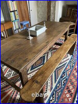 Stunning French Oak Refectory Table and two Benches