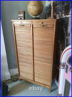 Stunning French Vintage Antique golden Oak Double Tambour Filing Cabinet