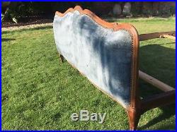 Stunning French Vintage Double Bed Wood With Blue Upholstery