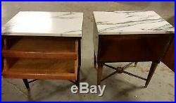 Stunning Pair Vintage French Empire Bedside Cabinets Cupboards with Marble Tops
