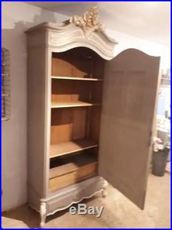 Stunning Single Mirrored French Armoire in Annie Sloan'French Linen & Old White