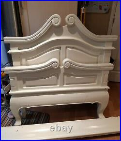 Stunning scroll Solid french single oak antique white bed