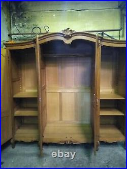 Super quality French Louis XV carved 4 door armoire, shelves, wardrobe, flat pack