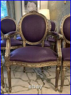 Superb Andrew Martin set of 10 dining chairs French champagne giltwood rrp £4500