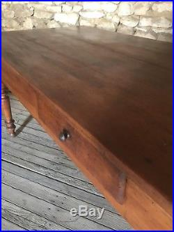 Superb Antique French Country Farmhouse Cherrywood Kitchen Dining Table