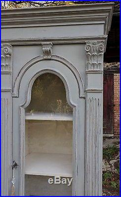 Superb Large French Louis XV Style Bookcase Display Cabinet in Grey Chalk Paint
