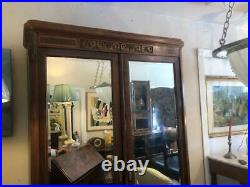 Superb Mahogany & Satinwood French Antique Armoire Mirrored Doors