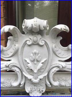 Superb Vintage ORNATE LARGE French White mirror Original / 58 Inches Tall