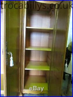 Superb vintage French carved golden oak Louis 4 door armoire, wardrobe, Flat pack