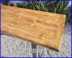 Table, large vintage french pine kitchen table, waxed, work table, dining table
