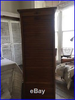 Tambour Vintage French Oak Filing Cabinet and original key PARIS