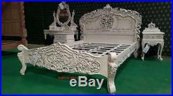UK King size 5' Mahogany Antique Ivory finish French style Rococo bed