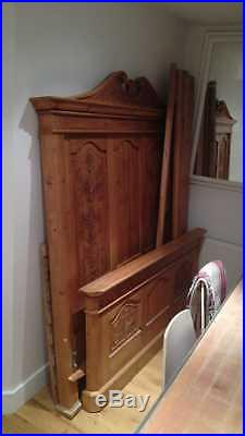 Unique Antique style French Oak double bed frame with 2 matching beside lockers