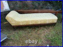 Unusual Vintage Beautifully Upholstered French Day Bed On Paw Feet