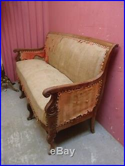 Upholstery Project Antique French Empire Design Mahogany Framed Sofa Banquette