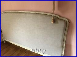 VINTAGE ANTIQUE FRENCH CORBEILLE SUPER KING SIZE BED UPHOLSTERED in grey linen