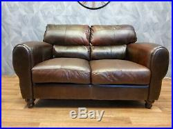 Victorian Antique Art Deco french club leather 2 seat sofa Cognac Brown