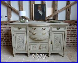 Victorian painted carved sideboard server drawers cupboards storage brass