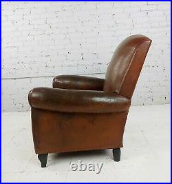 Vintage 1930s French Club Chairs -Brown Leather -a Pair