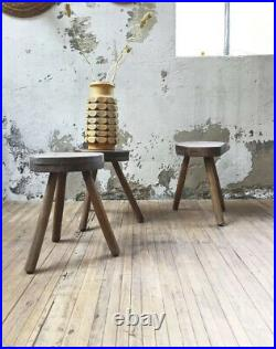 Vintage 1940s French Charlotte Perriand Inspired Tripod Stool