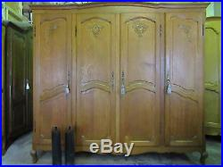 Vintage 4 door French carved oak Louis style armoire, wardrobe, Flat packs