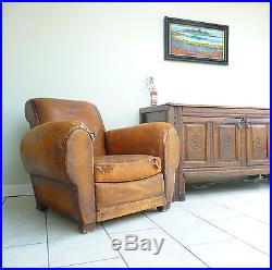 Vintage Antique Art Deco Brown French Leather Club Chair Armchair