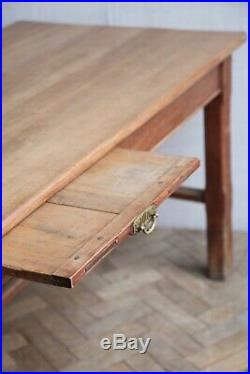 Vintage Antique French 19th Century Fruitwood Plank Top Farmhouse Dining Table