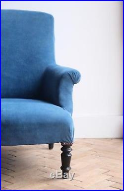 Vintage Antique French Blue Square Back Napoleon III Arm Chair Victorian (#2)