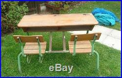 Vintage Antique French Double / Twin School Desk