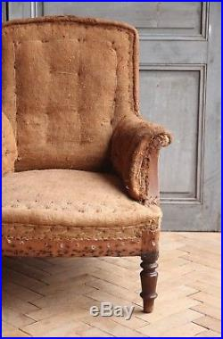 Vintage Antique French Hessian Square Back Arm Chair Victorian
