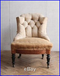 Vintage Antique French Napoleon III Chauffeuse Slipper Chair