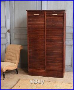 Vintage Antique French Oak Double Tambour Cabinet