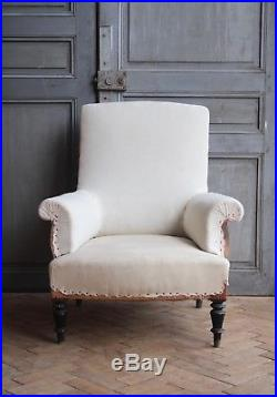 Vintage Antique French Square Back Arm Chair Victorian
